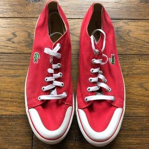 Lacoste red and white vintage lace up sneakers